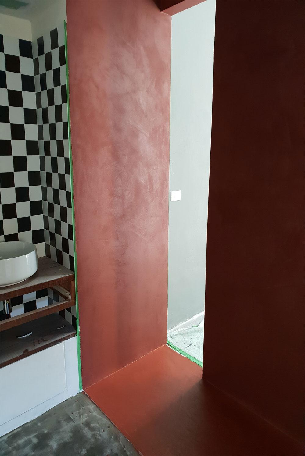 Decoro in resina, interno box doccia - Effetto Spatolato